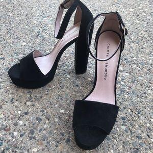 Chinese Laundry Avenue Black Suede Block Heels